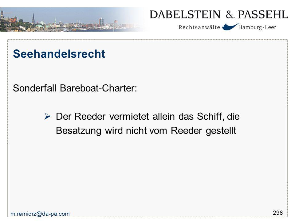 Seehandelsrecht Sonderfall Bareboat-Charter: