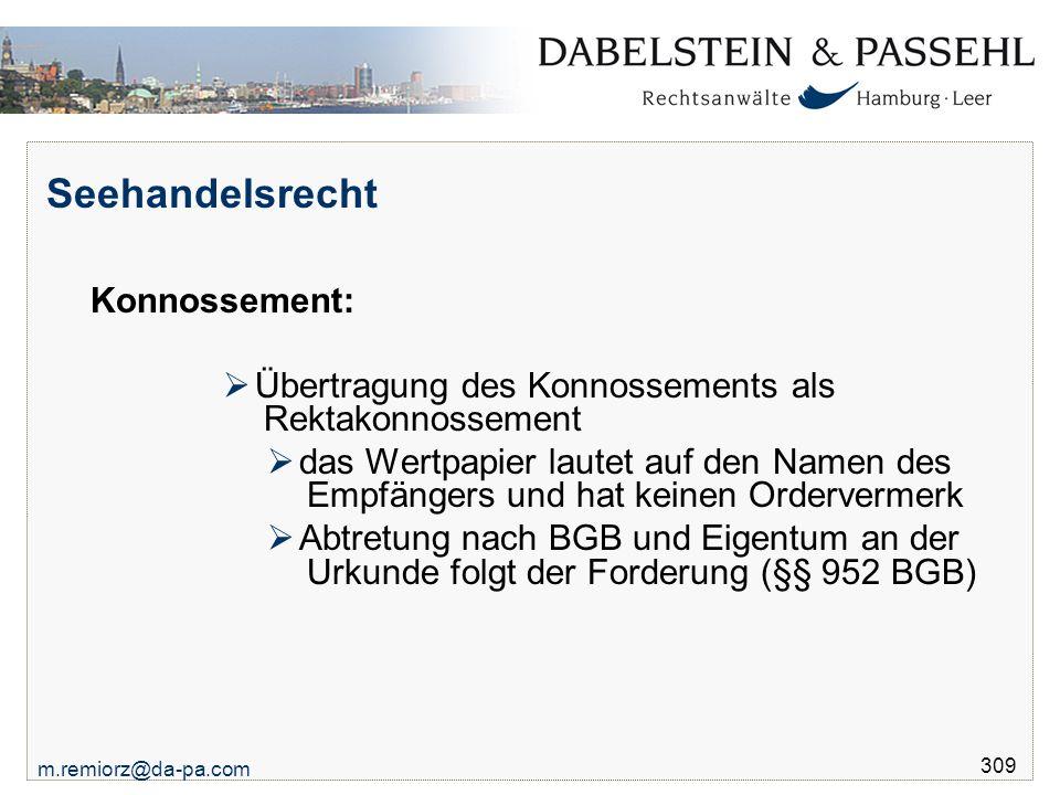 Seehandelsrecht Konnossement: