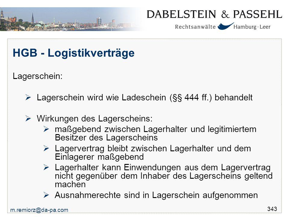 HGB - Logistikverträge