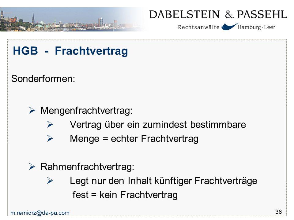 HGB - Frachtvertrag Sonderformen: Mengenfrachtvertrag: