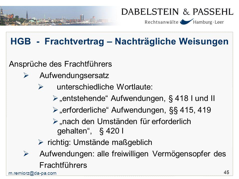 HGB - Frachtvertrag – Nachträgliche Weisungen