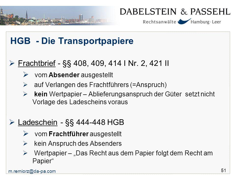 HGB - Die Transportpapiere