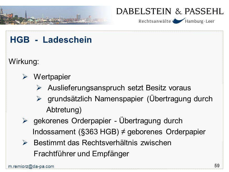 HGB - Ladeschein Wirkung: Wertpapier