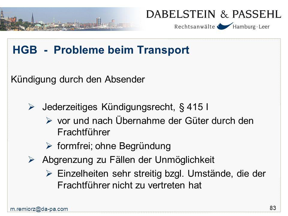 HGB - Probleme beim Transport