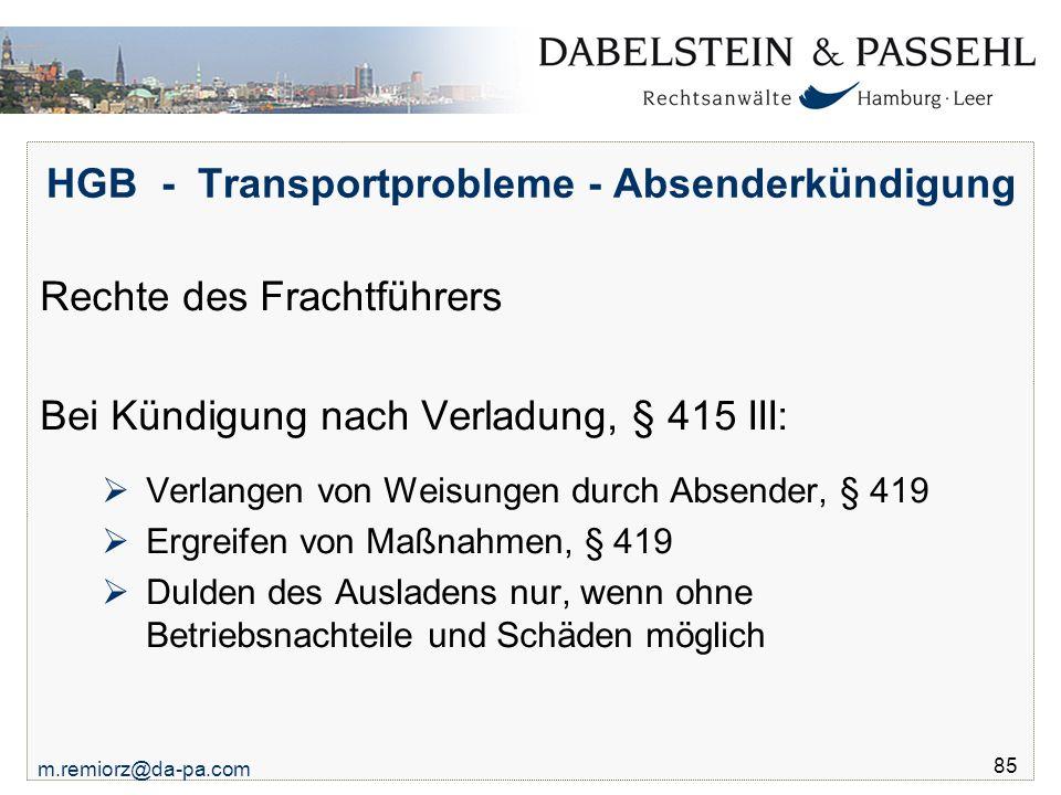 HGB - Transportprobleme - Absenderkündigung