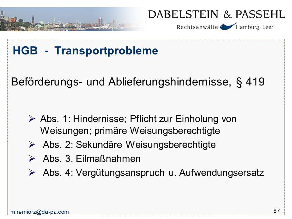 HGB - Transportprobleme