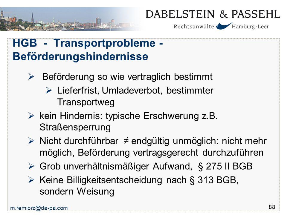 HGB - Transportprobleme - Beförderungshindernisse