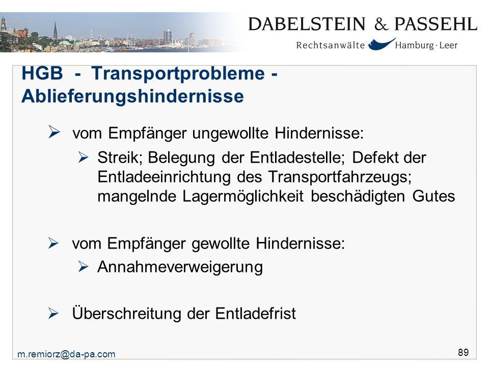 HGB - Transportprobleme - Ablieferungshindernisse
