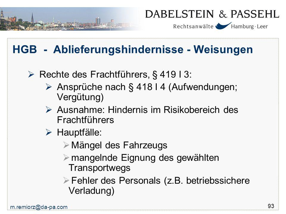 HGB - Ablieferungshindernisse - Weisungen