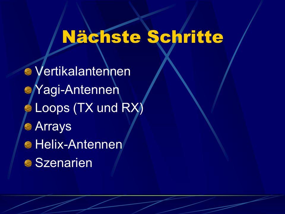 Nächste Schritte Vertikalantennen Yagi-Antennen Loops (TX und RX)
