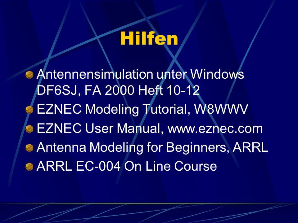 Hilfen Antennensimulation unter Windows DF6SJ, FA 2000 Heft 10-12
