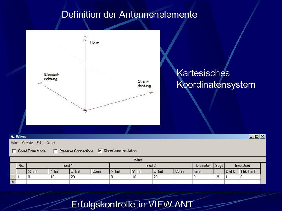 Definition der Antennenelemente