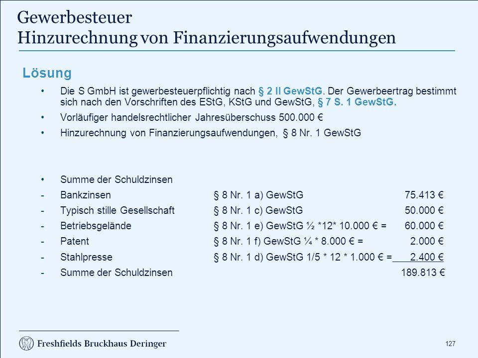 Gewerbesteuer Hinzurechnung von Finanzierungsaufwendungen