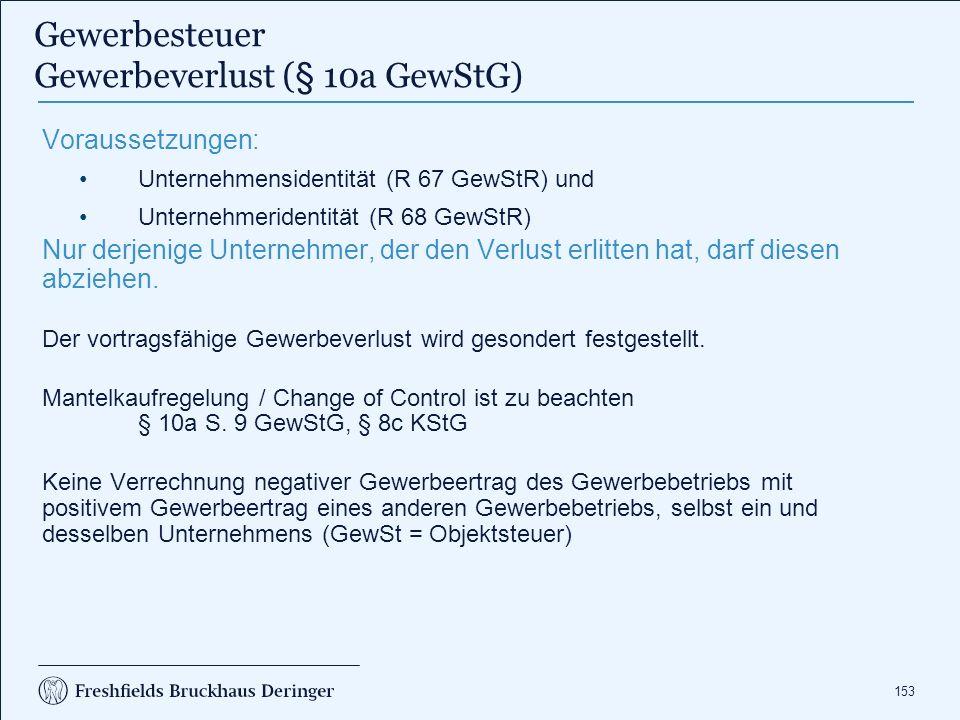 Gewerbesteuer Gewerbeverlust (§ 10a GewStG)