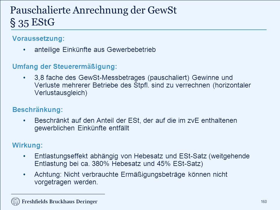 Gewerbesteuer § 35 EStG - Anrechnungsüberhänge