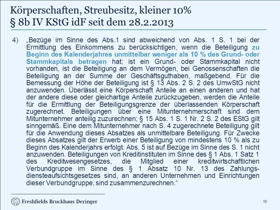 Körperschaftsteuer - Besteuerung von Dividenden Körperschaften, Streubesitz (kleiner 10%)