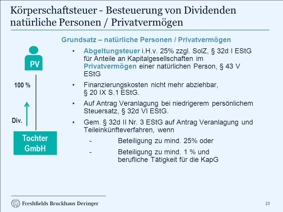 Körperschaftsteuer Besteuerung von Dividenden