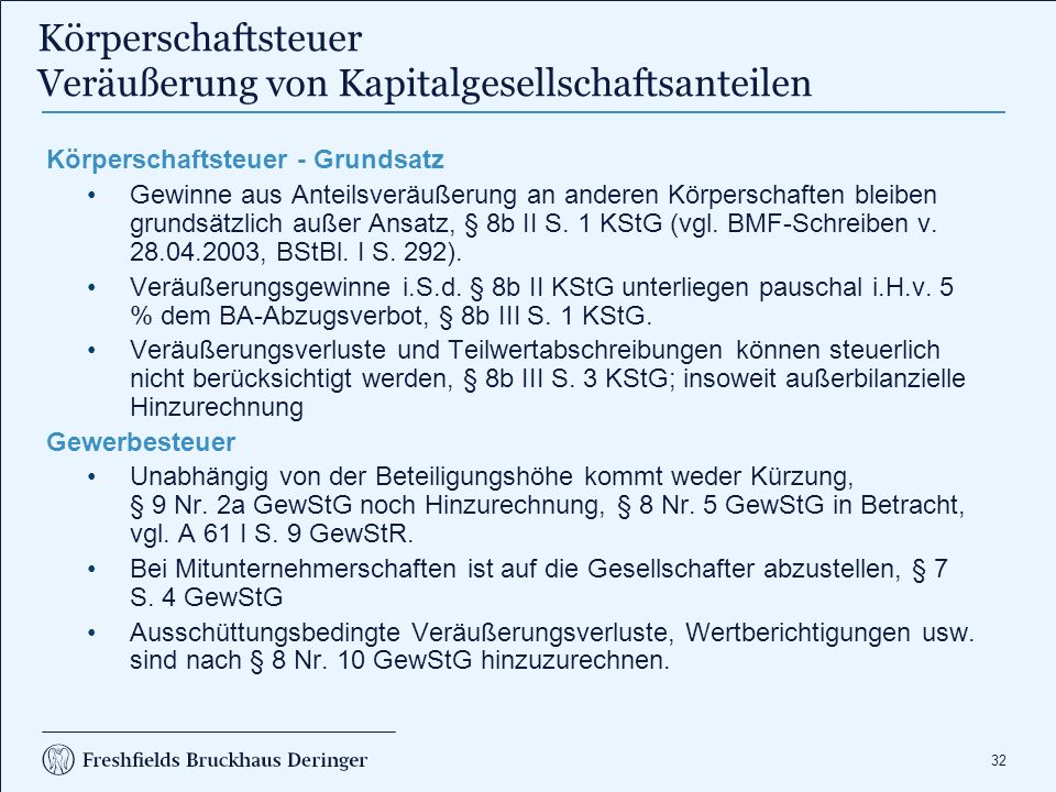 Körperschaftsteuer Veräußerung von Kapitalgesellschaftsanteilen