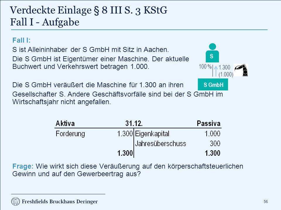 Verdeckte Einlage § 8 III S. 3 KStG Fall I - Lösung