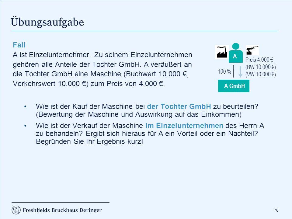 Steuerfolgen bei der A GmbH