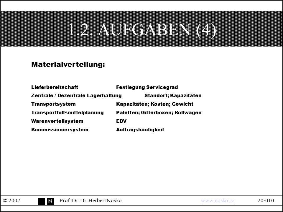 1.2. AUFGABEN (4) Materialverteilung: