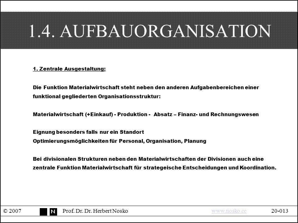 1.4. AUFBAUORGANISATION 1. Zentrale Ausgestaltung: