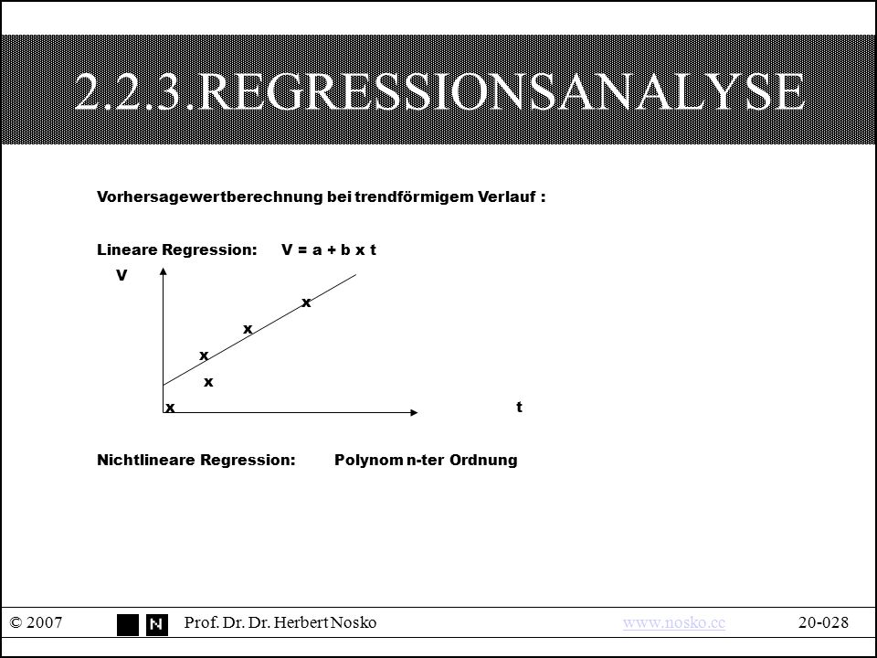 2.2.3.REGRESSIONSANALYSE Vorhersagewertberechnung bei trendförmigem Verlauf : Lineare Regression: V = a + b x t.