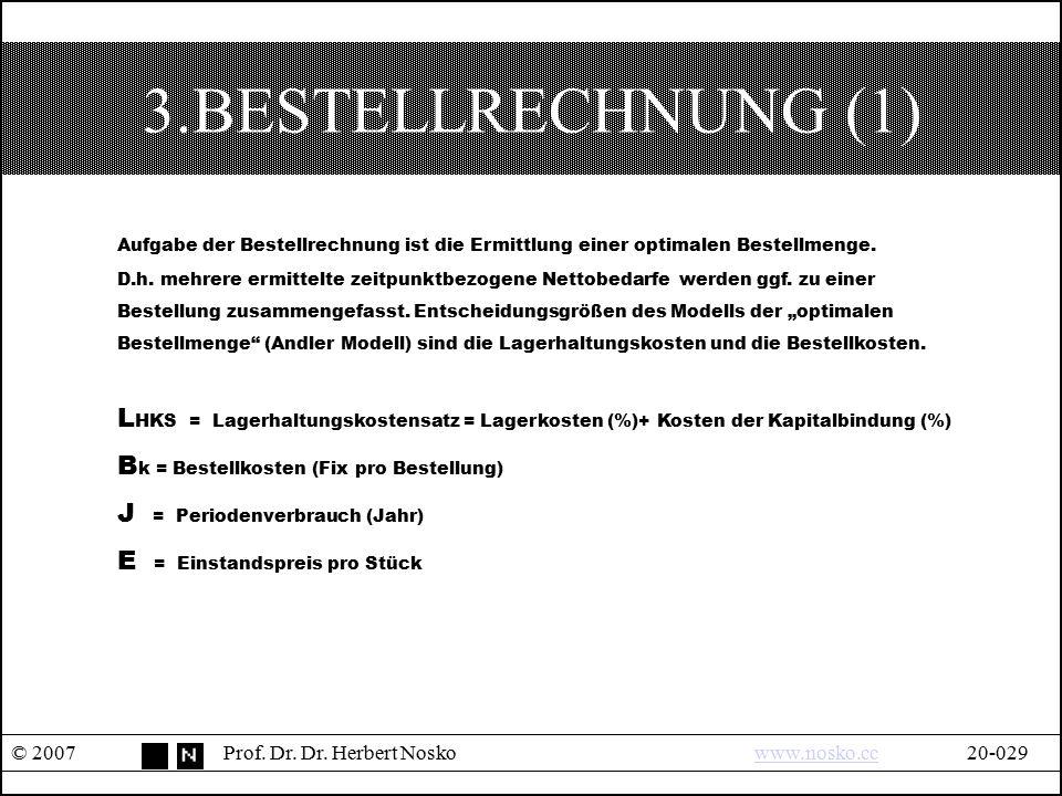 3.BESTELLRECHNUNG (1) Aufgabe der Bestellrechnung ist die Ermittlung einer optimalen Bestellmenge.