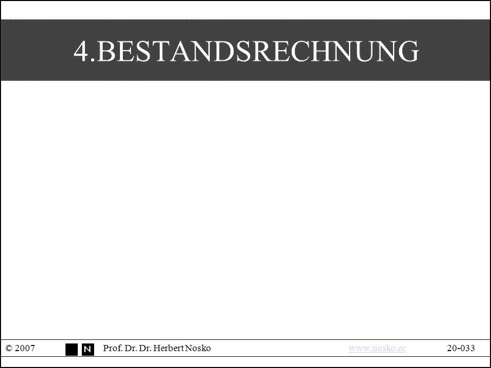 4.BESTANDSRECHNUNG © 2007 Prof. Dr. Dr. Herbert Nosko www.nosko.cc 20-033