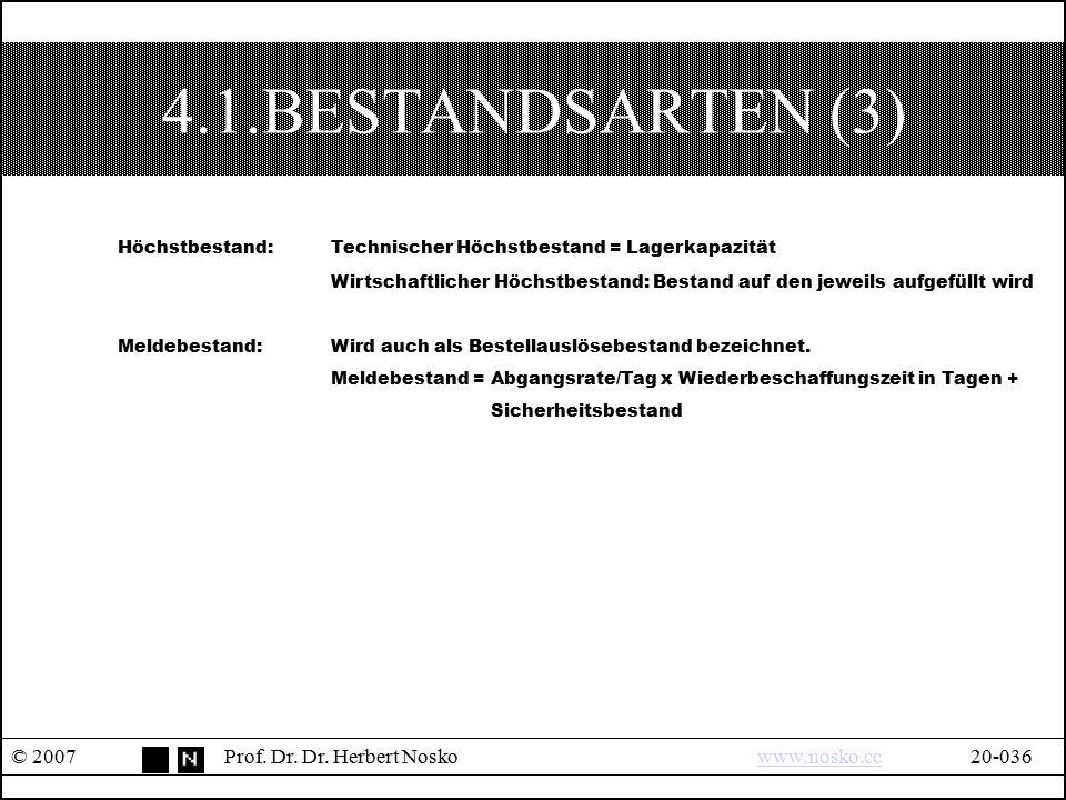 4.1.BESTANDSARTEN (3) Höchstbestand: Technischer Höchstbestand = Lagerkapazität.