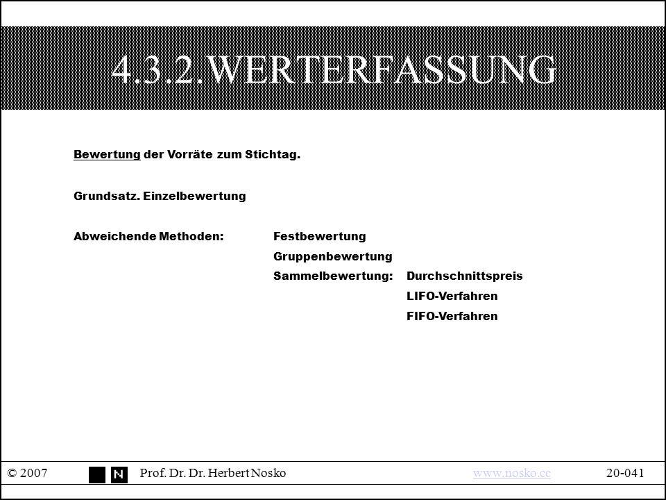 4.3.2.WERTERFASSUNG Bewertung der Vorräte zum Stichtag.