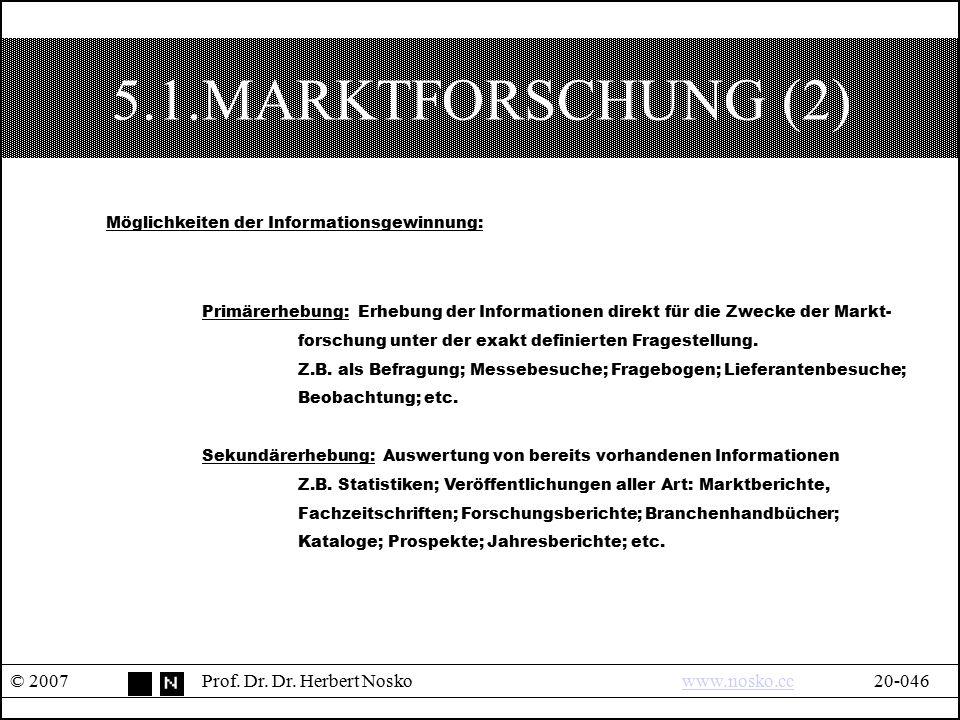 5.1.MARKTFORSCHUNG (2) Möglichkeiten der Informationsgewinnung: