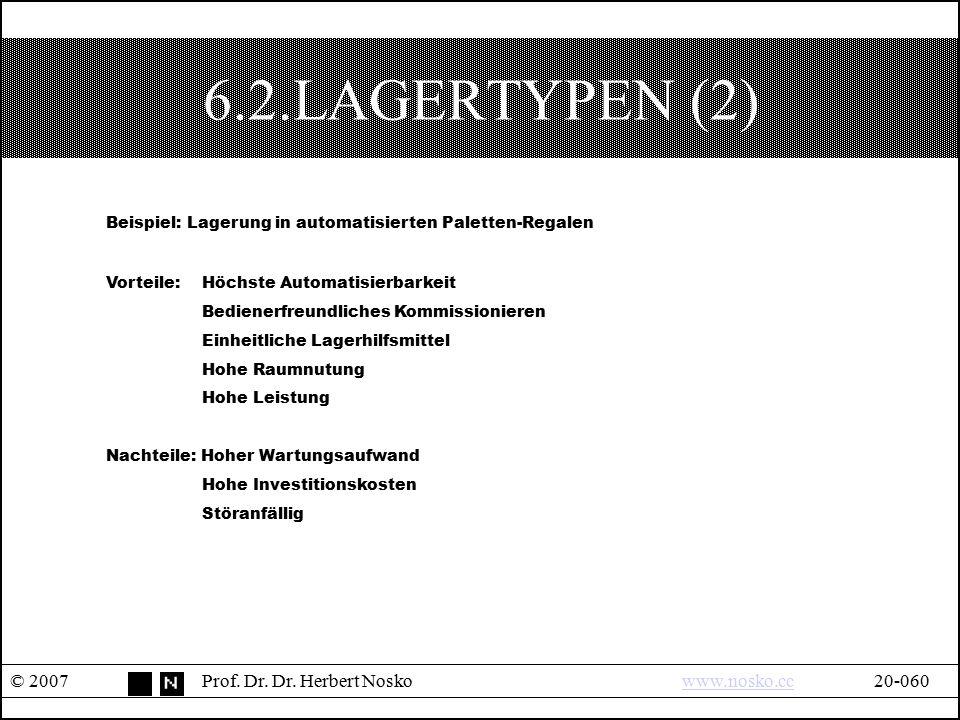 6.2.LAGERTYPEN (2) Beispiel: Lagerung in automatisierten Paletten-Regalen. Vorteile: Höchste Automatisierbarkeit.