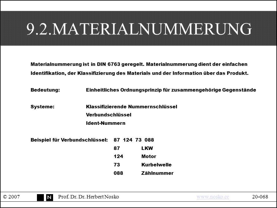 9.2.MATERIALNUMMERUNG Materialnummerung ist in DIN 6763 geregelt. Materialnummerung dient der einfachen.