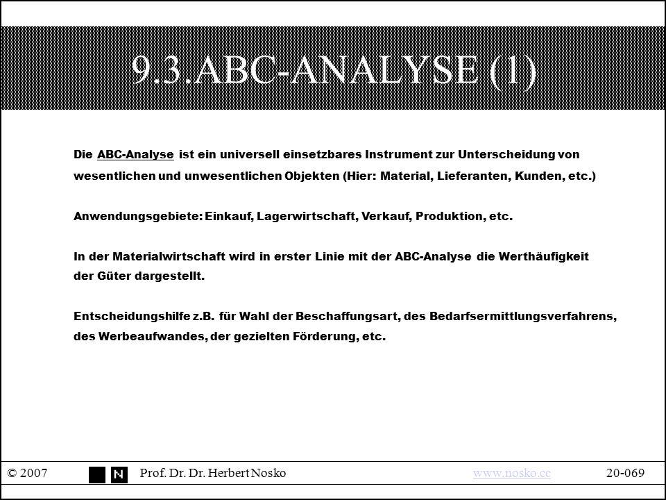 9.3.ABC-ANALYSE (1) Die ABC-Analyse ist ein universell einsetzbares Instrument zur Unterscheidung von.