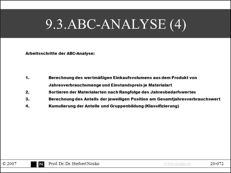 9.3.ABC-ANALYSE (4) Arbeitsschritte der ABC-Analyse: