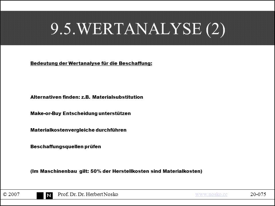 9.5.WERTANALYSE (2) Bedeutung der Wertanalyse für die Beschaffung: