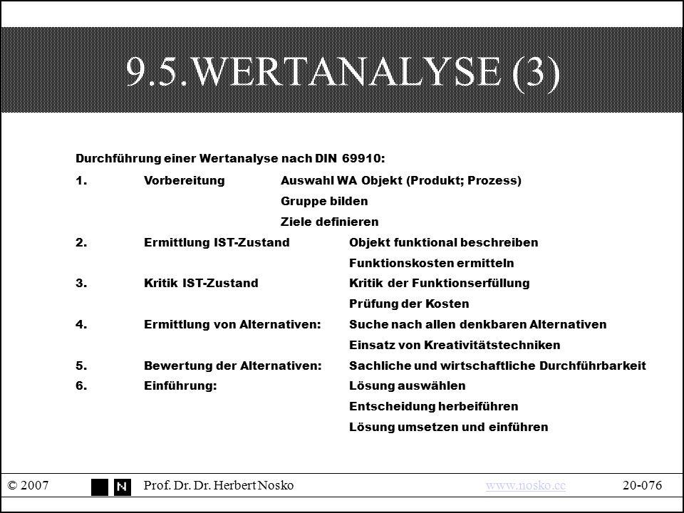 9.5.WERTANALYSE (3) Durchführung einer Wertanalyse nach DIN 69910: