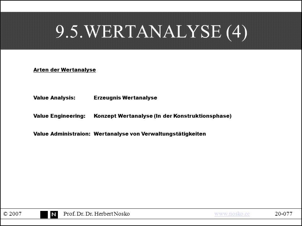 9.5.WERTANALYSE (4) Arten der Wertanalyse