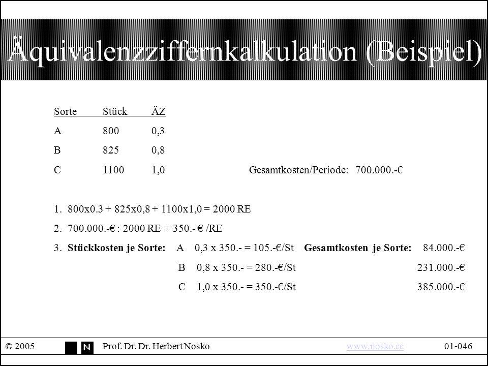 Äquivalenzziffernkalkulation (Beispiel)