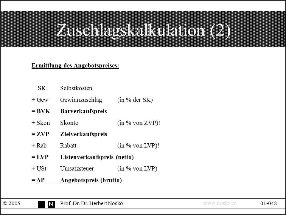 Zuschlagskalkulation (2)