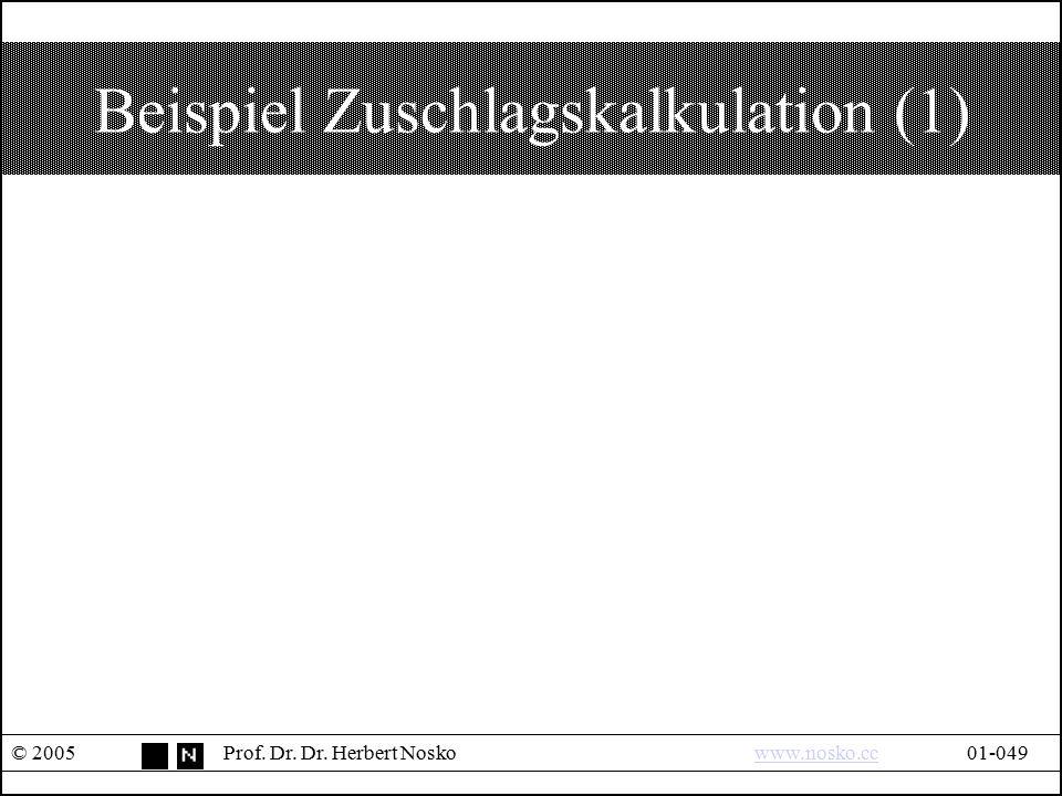 Beispiel Zuschlagskalkulation (1)