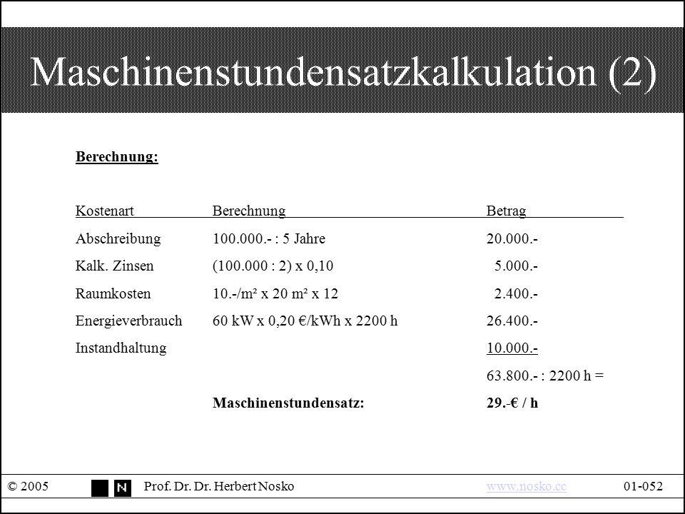 Maschinenstundensatzkalkulation (2)