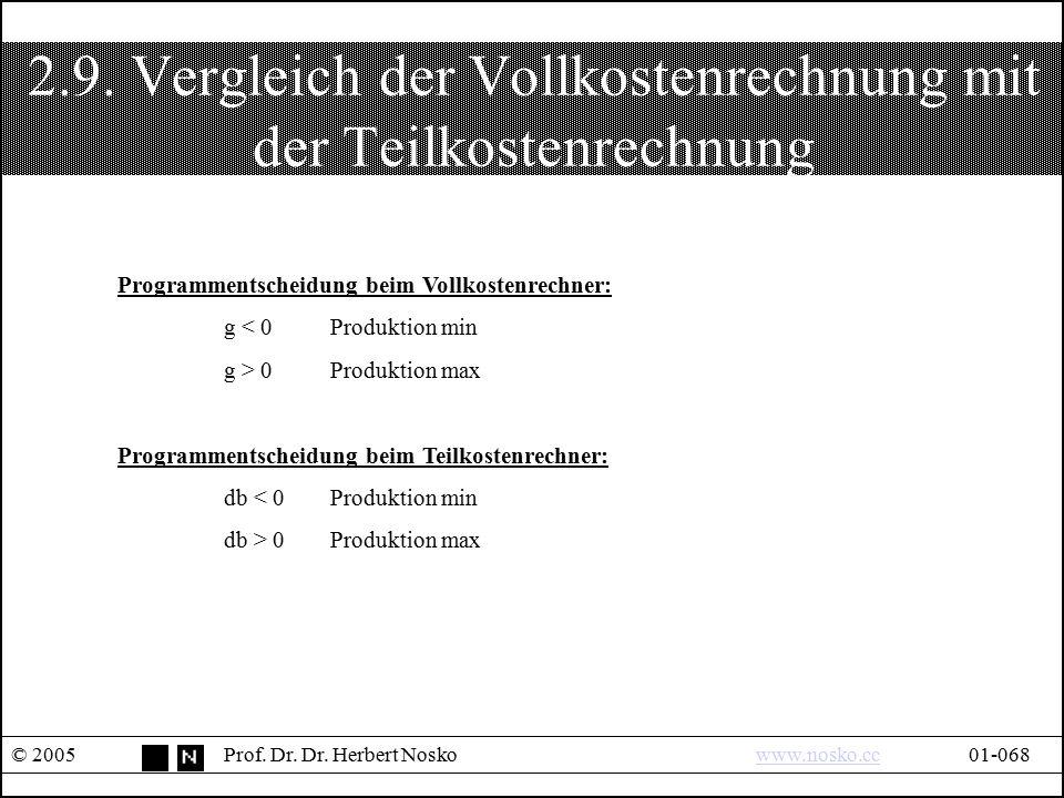 2.9. Vergleich der Vollkostenrechnung mit der Teilkostenrechnung