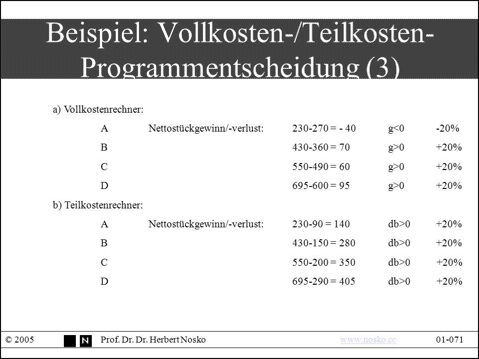 Beispiel: Vollkosten-/Teilkosten- Programmentscheidung (3)