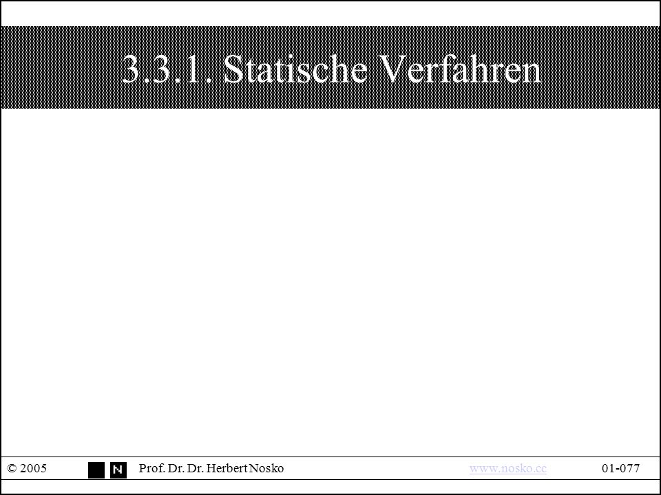 3.3.1. Statische Verfahren © 2005 Prof. Dr. Dr. Herbert Nosko www.nosko.cc 01-077