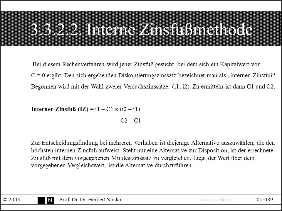 3.3.2.2. Interne Zinsfußmethode