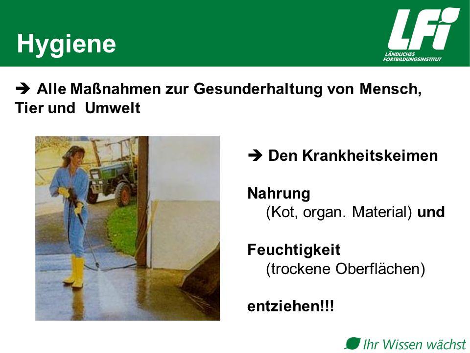 Hygiene  Alle Maßnahmen zur Gesunderhaltung von Mensch, Tier und Umwelt.  Den Krankheitskeimen.