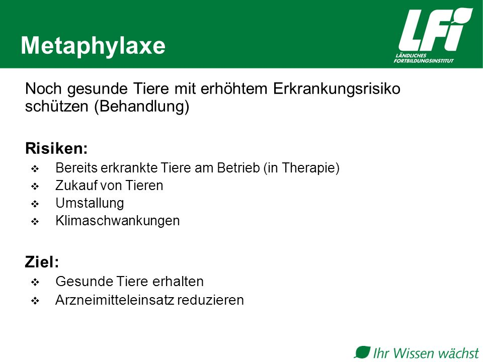 Metaphylaxe Noch gesunde Tiere mit erhöhtem Erkrankungsrisiko schützen (Behandlung) Risiken: Bereits erkrankte Tiere am Betrieb (in Therapie)