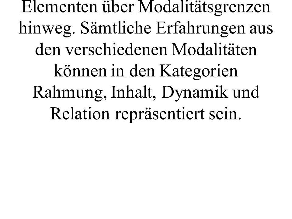 Weitere Arbeiten auf diesem Gebiet führten zu einer Kategorisierung (vgl BACHMANN 1991) von Elementen über Modalitätsgrenzen hinweg.